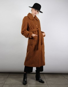 manteau STAND lottie marron en fausse fourrure
