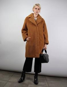 manteau STAND camille cocoon marron en fausse fourrure