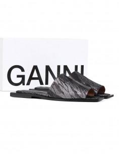Sandales GANNI à paillettes argentés à bout carré été