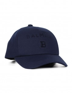 "Casquette bleue marine avec logo ""Balmain"""