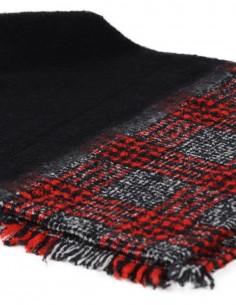 Echarpe DESTIN unie et carreaux - Noir et rouge