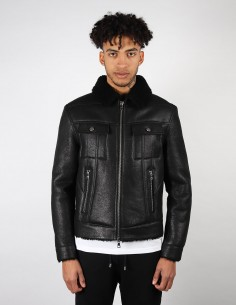 Manteau shearling BALMAIN PARIS coupe aviateur en cuir noir