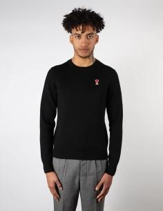 Pull en laine noir avec patch logo rouge AMI PARIS pour homme