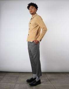 Pantalon gris pour homme coupe carotte à pinces