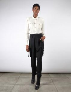 Pantalon cargo noir taille haute pour femme