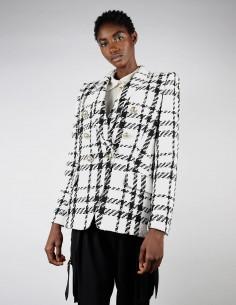 Veste croisée en tweed pour femme noir et blanc