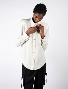 Chemise en soie écrue BALMAIN boutons dorés pour femme