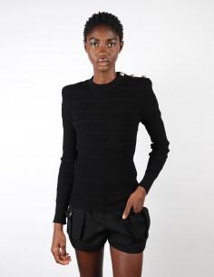 Pull noir en maille ajourée balmain pour femme