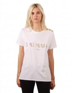 T-shirt blanc avec logo Balmain doré pour femme