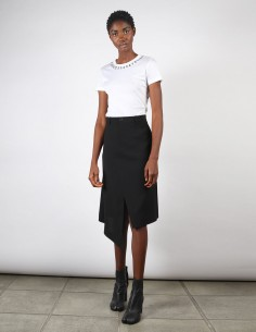 Jupe noire asymétrique avec fente maison margiela pour femme