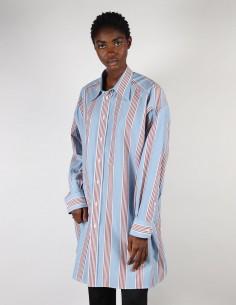 Large chemise rayée bleue pour femme margiela