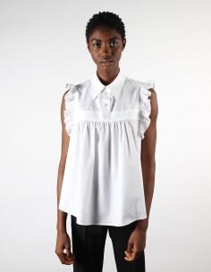 Chemise sans manches blanches à volants pour femme margiela MM6