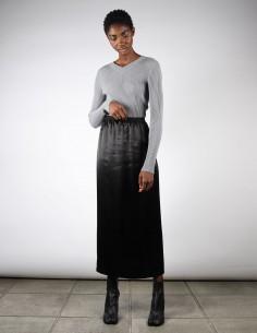 Jupe droite longue en satin noir pour femme margiela MM6