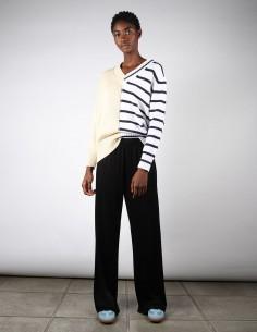 Pantalon de jogging noir large et fluide pour femme margiela mm6