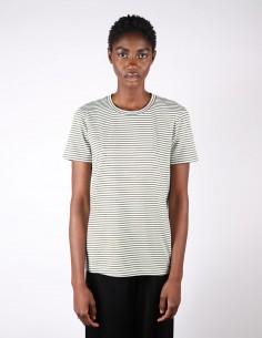 T-shirt rayé vert et marron pour femme margiela MM6