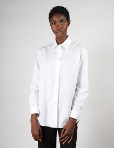 Longue chemise blanche en popeline de coton pour femme margiela MM6