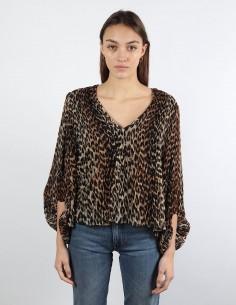 GANNI leopard print blouse woman