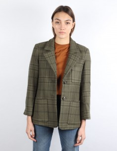 kaki checked jacket in wool GANNI woman