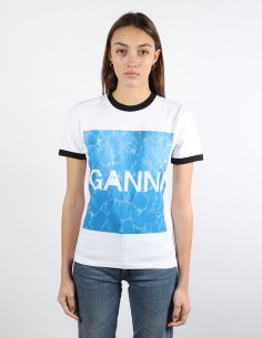 GANNI white tee pool print woman