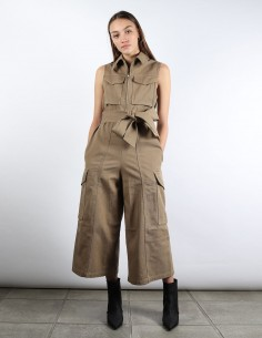 ami brown work culottes jumpsuit woman