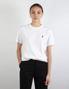 ami t-shirt blanc petit logo femme