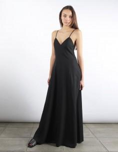 AMI robe noire maxi à bretelles