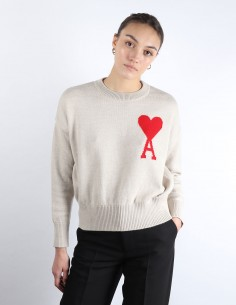 AMI oversized beige sweater big logo woman