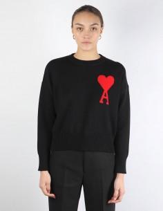 AMI pull noir oversize gros logo