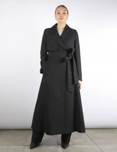 AMI black maxi trench with belt woman