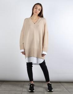 BUI robe pull beige chemise