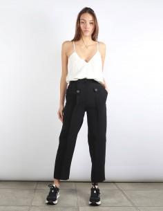 BUI pantalon noir ceinture façon martingale