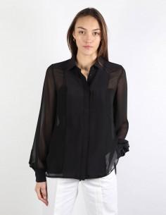 BUI bi-material black blouse