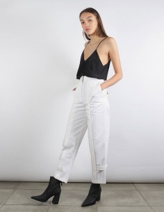 BUI pantalon blanc à plis patte ajustable jambe