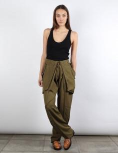 BUI pantalon kaki taille haute à plis