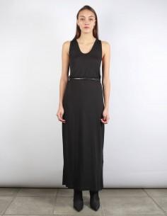 BENENATO robe longue noire ceinturée drapée