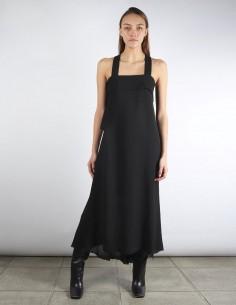 BENENATO long asymmetrical black dress cross back shoulder straps