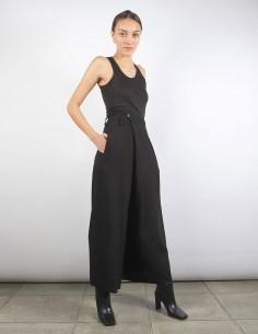 BENENATO pantalon noir fluide à boutons décentrés