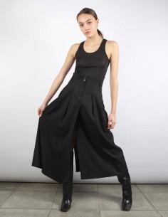 BENENATO jupe pantalon noir large fluide à pinces