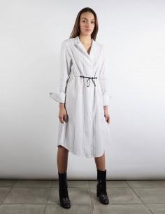 OFF WHITE robe rayée à lien de serrage et logo à répétition