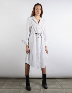 OFF WHITE white striped shirt-dress with drawcords and repeated logo