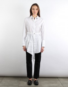 OFF WHITE white asymmetrical shirt-dress with stripes