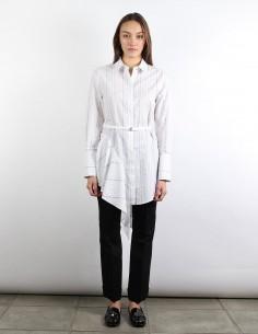 OFF WHITE white asymmetrical shirt-dress with stripes
