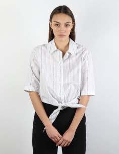 OFF-WHITE cropped white shirt with logo stripes to tie