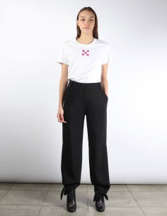 OFF-WHITE black straight pants with link to tie