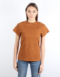 TOTEME Espera brown tee shirt small logo embroidered