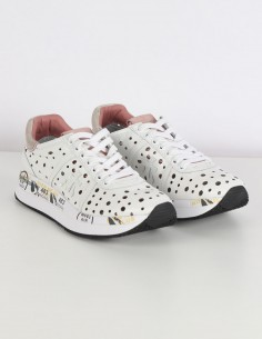 "PREMIATA WHITE white ""Conny"" sneakers with perforations"