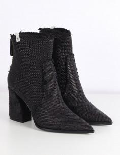 PREMIATA black boots raffia heel