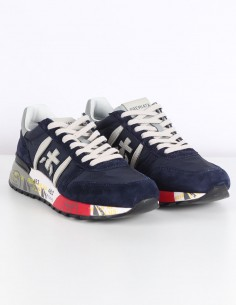 "PREMIATA WHITE ""Lander"" navy sneakers in suede and nylon"