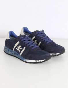 "PREMIATA WHITE ""Eric"" navy sneakers in leather and nylon"