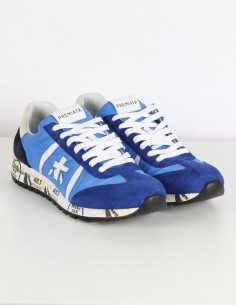 "PREMIATA WHITE ""Lucy"" blue sneakers in nylon and velvet"